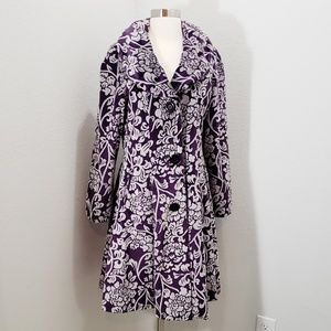 Angie Princess Coat Purple Velvet Floral Medium